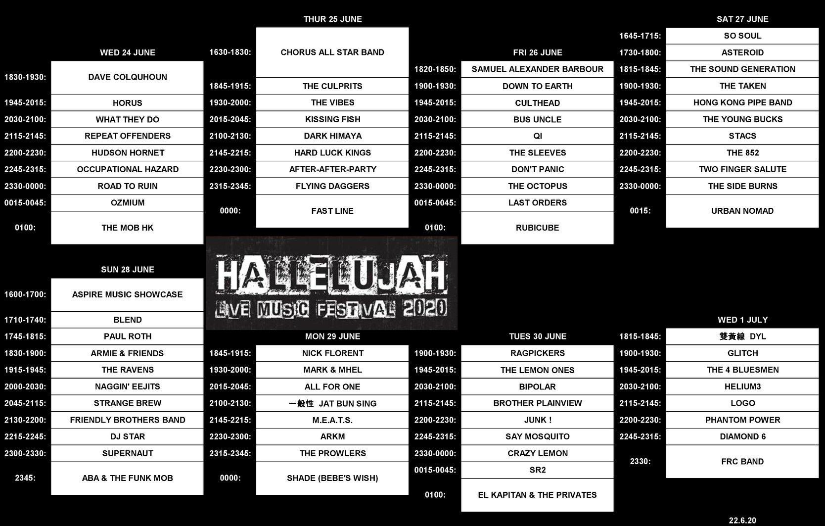 Hallelujah Festival 2020 Timetable
